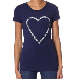 Love Moschino blue Rhinestone Tape Heart tee shirt